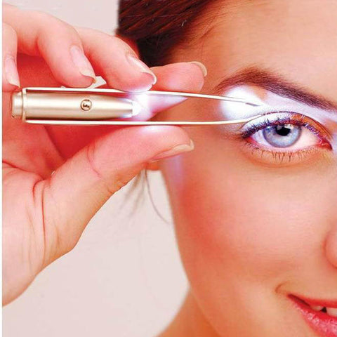 Tweezers For Eyebrow LED Light Brow Clip Convenience Led Lighting Pluck Eyebrow Clip Make Up Cosmetic Tool Eyebrow Tweezers Hot