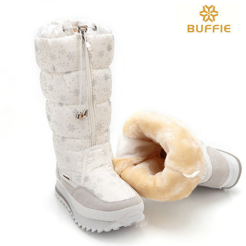 2016 new winter high women boots plush warm lady shoe plus size 35 to 41 easy wear zipper up girl white colour flower snow boots