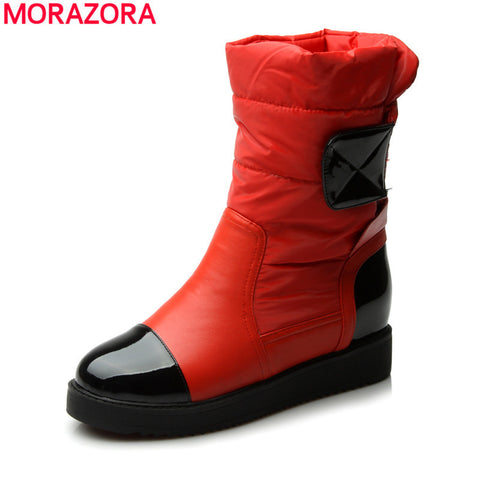 2016 new fashion flats snow boots down warm ankle boots women fashion thick fur inside platform cotton shoes
