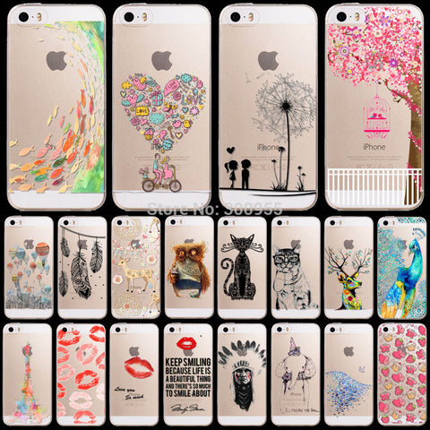 Hot sale Phone Cases For Apple iphone 6 6s Colorful Love patterns Soft Sillicon Transparent TPU Cellphone Back Cover fundas