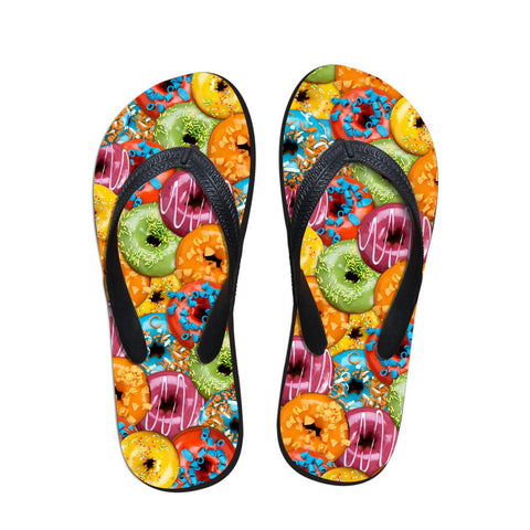 2016 New Fashion Donuts Printing Flip Flops Women Summer Beach Sandals Shoes Female Rubber Slippers Girls Flats Sapato Feminino