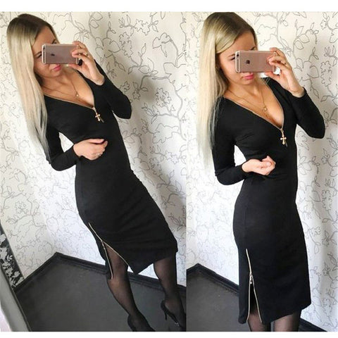 2016 Women's Zipper Design V-neck Autumn Spring Dress Plus Size Casual Solid Straight Long Sleeve Maxi Dresses J6070