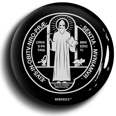 St Benedict Medal Holy Rule Button