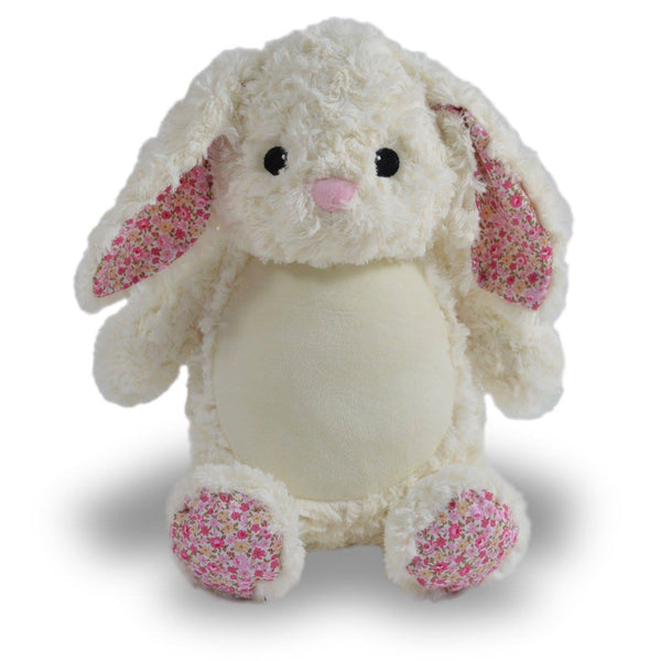 Personalized Stuffed Animal Bunny With Pink Feet