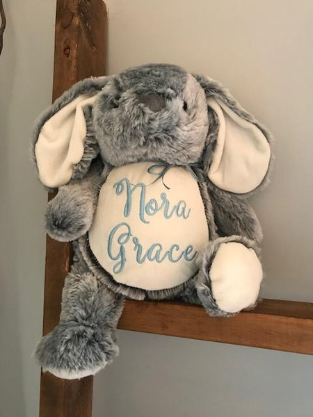 Personalized Stuffed Animal Gray Bunny