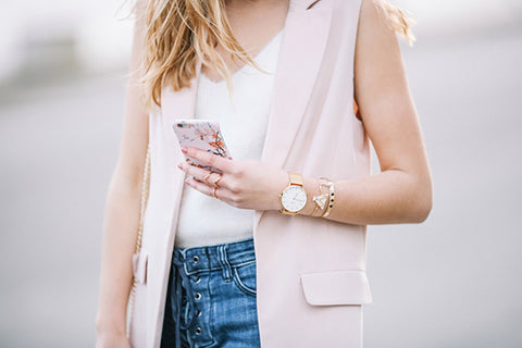 Girl Wearing Gold Maximalist Shapes in Rings