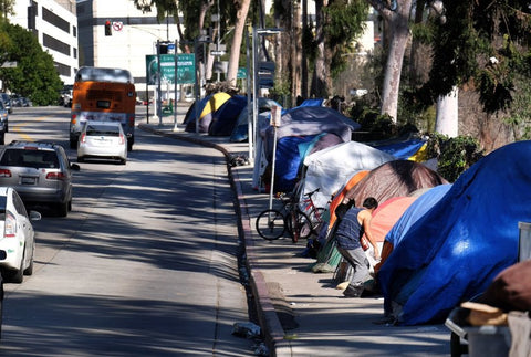 Homeless Tents on Sidewalk
