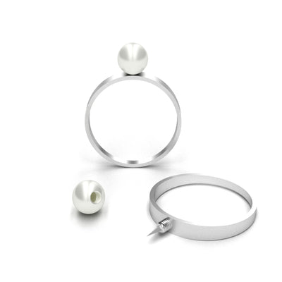 Self Defense Ring Jewelry with White Pearl Top and Concealed Sharp Knife