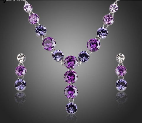Charming Colorful Cubic Zirconia Pendant Necklace and Drop Earrings Jewelry Sets