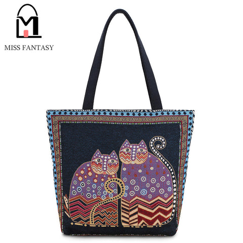 Vintage Women's Canvas Cat Handbag
