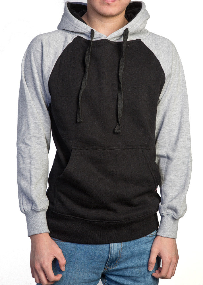 Premium Heavyweight Pullover Hoodie Black/Heather Grey
