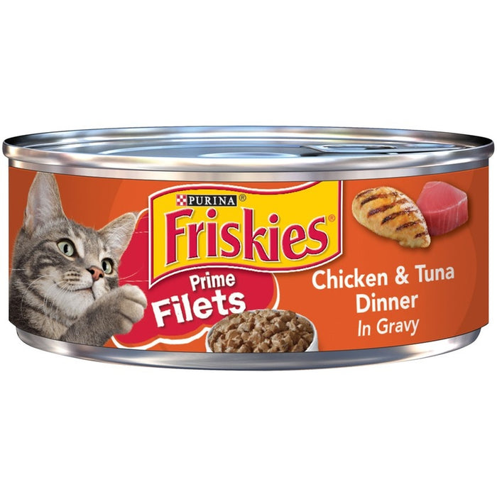 Friskies Prime Filets Chicken & Tuna Dinner in Gravy Canned Cat Food