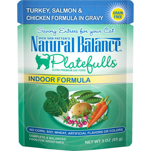 Natural Balance Platefulls Indoor Grain Free Turkey Salmon and Chicken in Gravy Pouch Wet Cat Food - Natural Balance | Peacebone