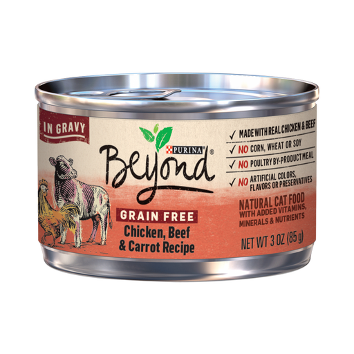 Purina Beyond Grain-Free Chicken, Beef & Carrot Recipe in Gravy Canned Cat Food