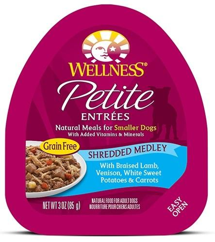 Wellness Small Breed Natural Petite Entrees Shredded Medley with Braised Lamb, Venison, White Sweet Potatoes and Carrots Dog Food Tray - Wellness | Peacebone