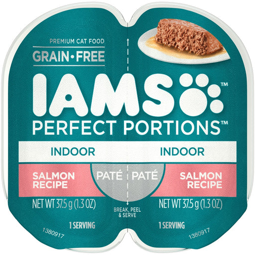 Iams Perfect Portions Indoor Salmon Pate Wet Cat Food Tray