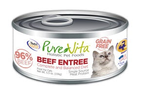 PureVita Grain Free 96% Real Beef Entree Canned Cat Food