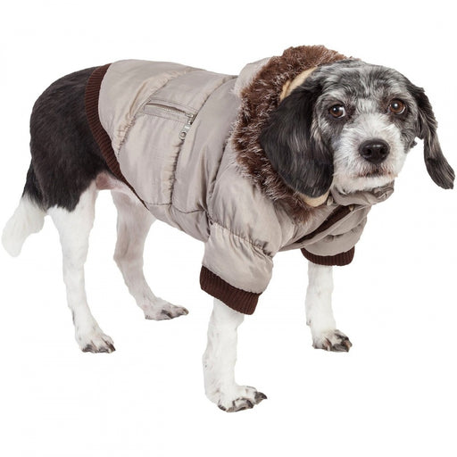 Pet Life Metallic Grey Fashion Parka Insulated Dog Coat with Removable Hood