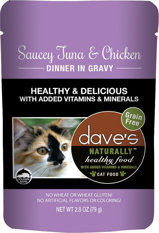 Dave's Naturally Healthy Sauccy Grain Free Tuna & Chicken Dinner in Gravy Cat Food Pouch