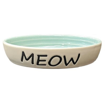 Ethical Pet Meow Oval Cat Dish Green