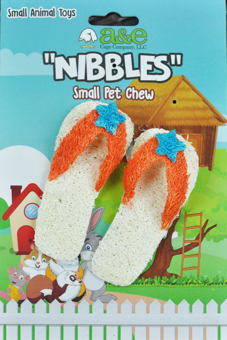 A & E Nibbles Loofah Flip Flop Small Animal Toy