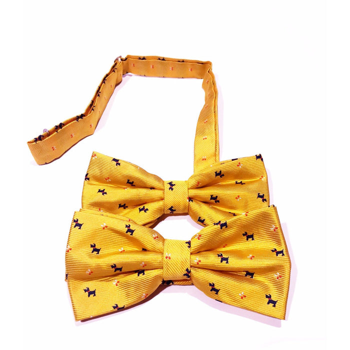 Peacebonepet.com Human and Pup Bowtie Yellow