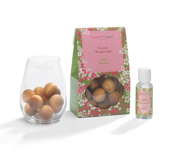 Apple Blossom-Scented Wooden Balls With Oil & Vase