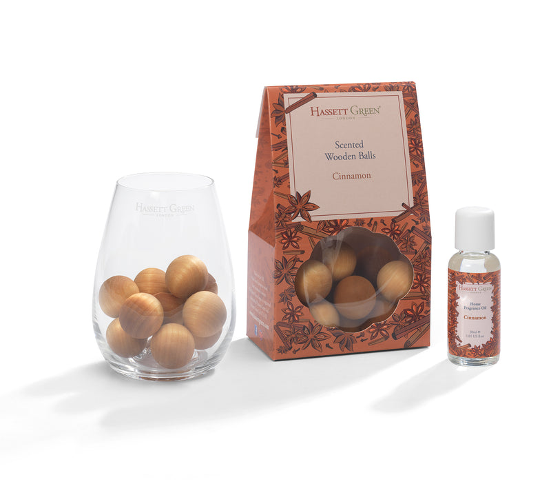 Cinnamon - Scented Wooden Balls With Oil & Vase