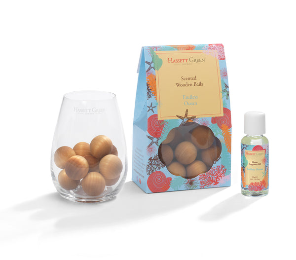 Endless Ocean - Scented Wooden Balls With Oil & Vase