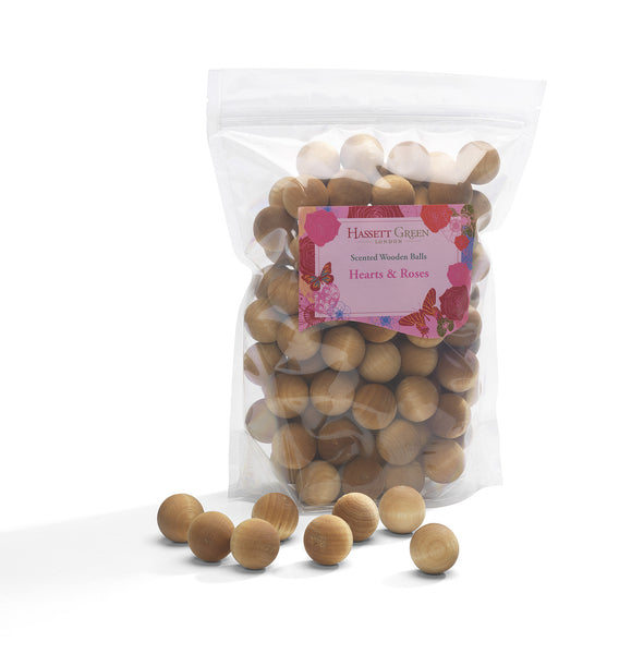Hearts & Roses - Scented Wooden Balls (Pack of 100)