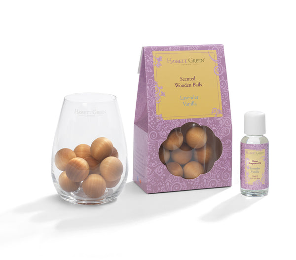 Lavender Vanilla - Scented Wooden Balls With Oil & Vase