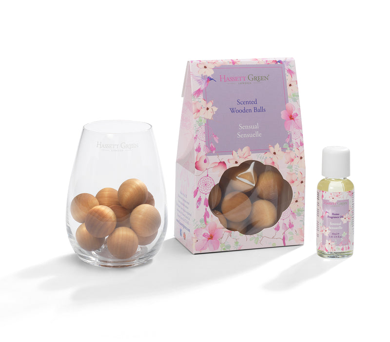 Sensual Sensuelle - Scented Wooden Balls With Oil & Vase