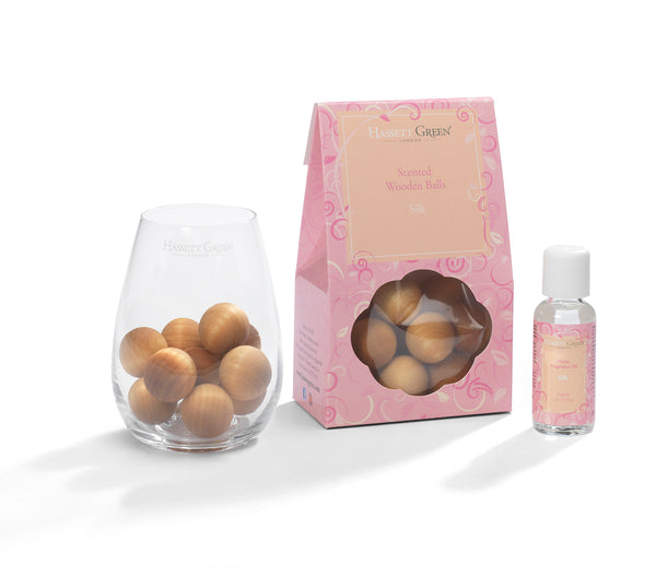 Silk - Scented Wooden Balls With Oil & Vase