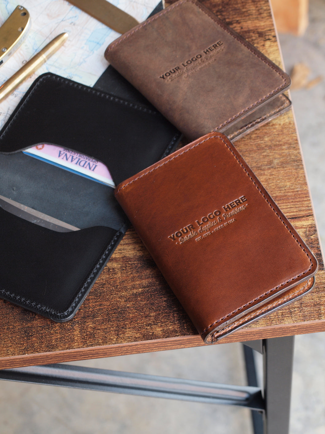 Custom Logo Leather Card Wallet