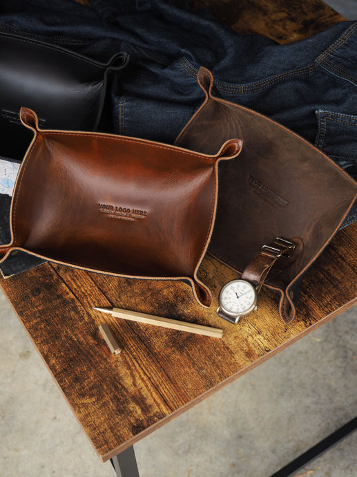 Custom Logo Leather Catch-All Tray