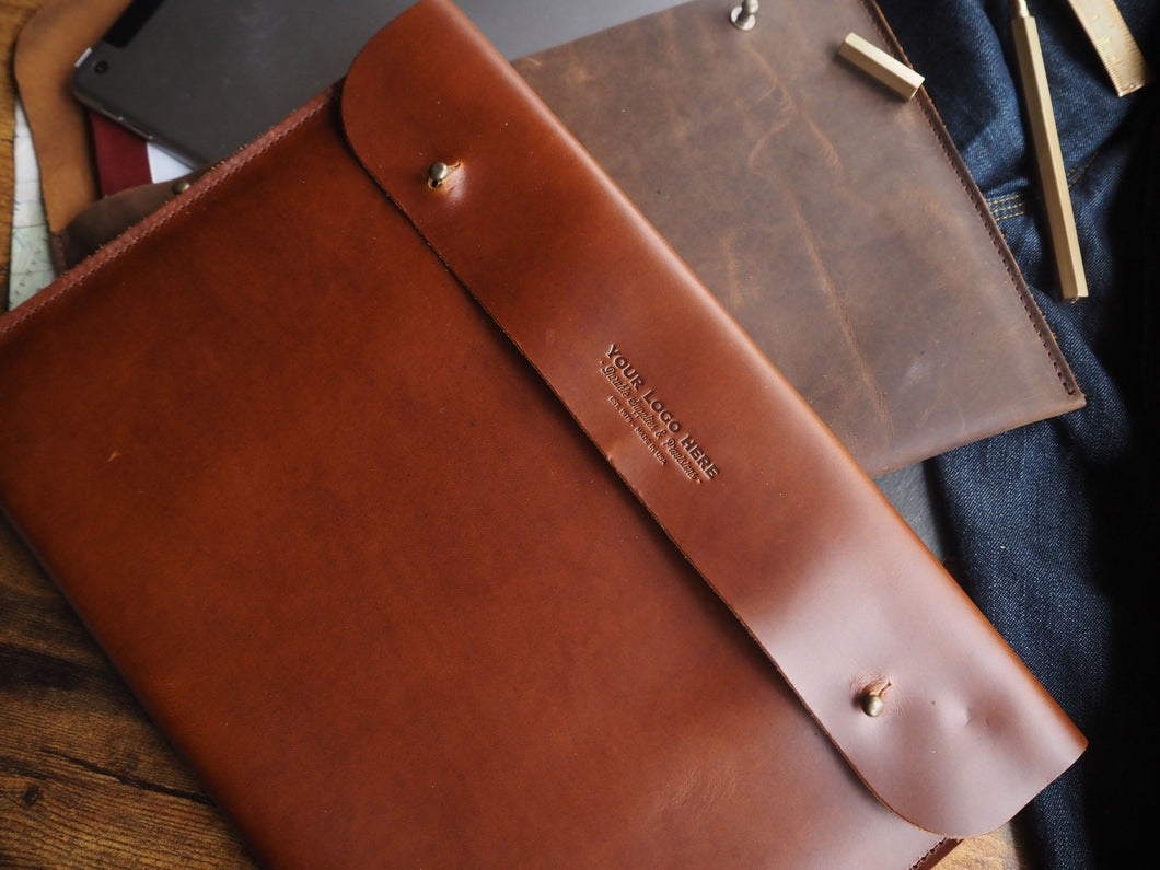 Custom Logo Leather Portfolio // iPad - Surface - Documents