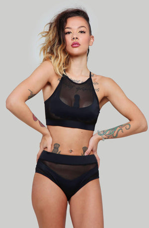 CREATURES OF XIX Goddess High Waisted Bottoms - Black with Black Mesh