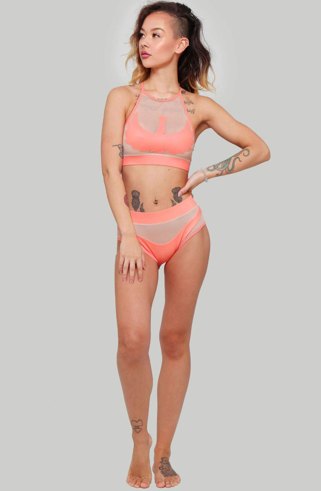 CREATURES OF XIX I S I S Goddess Halter Top - Peach with Sand Mesh