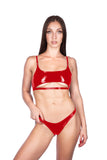 Naughty Thoughts - Sinner Vinyl Underboob Top RED