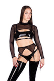 Naughty Thoughts - Sinner Vinyl Lace-up Thigh High