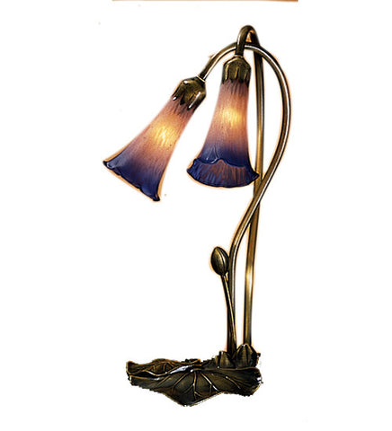 16 in. H Pink/Blue Pond Lily 2 LT Accent Lamp