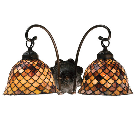 18 in. W Tiffany Fishscale 2 LT Wall Sconce