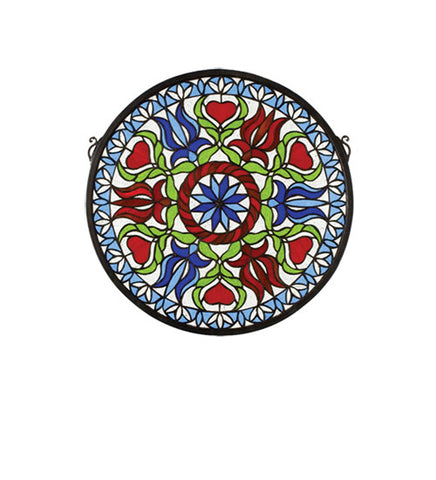17 in. W X 17 in. H Hex Medallion Stained Glass Window