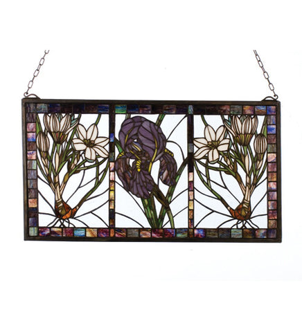 25 in. W X 14 in. H Spring Triptych Stained Glass Window