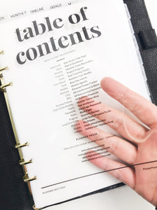 Custom Acetate Table of Contents Dashboard - Planner Press