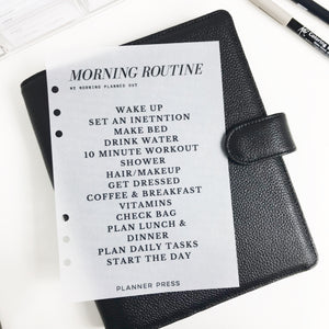 Custom Dashboard: Morning or Evening Routine on Vellum - Black Text - Planner Press