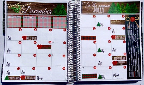 December Monthly View Kit Planning Reminder Stickers - Fits Erin Condren, KikkiK, Filofax Planners and Midori Notebooks 2089 - Planner Press
