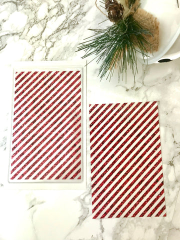 Candy Cane Glitter Stripe DashStash Sticker for Adhesive Vinyl Pockets  For TN's and Midori Travelers Notebook & Ringbound Planners