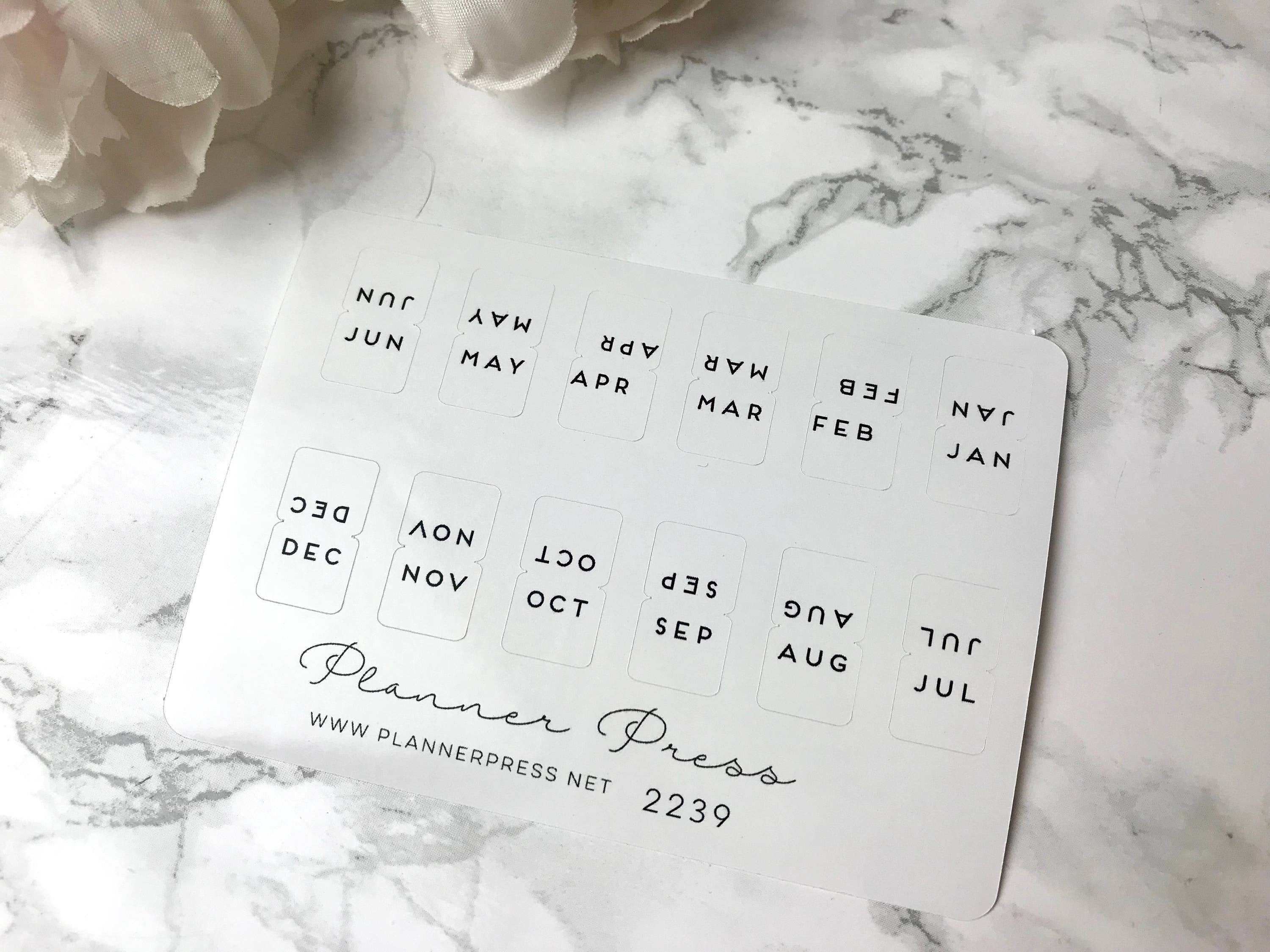 Baoblaze 8 Sheets Mini Self Adhesive DIY Monthly Calendar Index Tabs Reminder Stickers for Diary Scrapbook Personal Planner