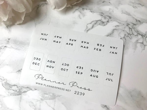 Black & White Monthly Tab Stickers - Fits Erin Condren, KikkiK, Filofax Planners and Midori Notebooks 2239 - Planner Press